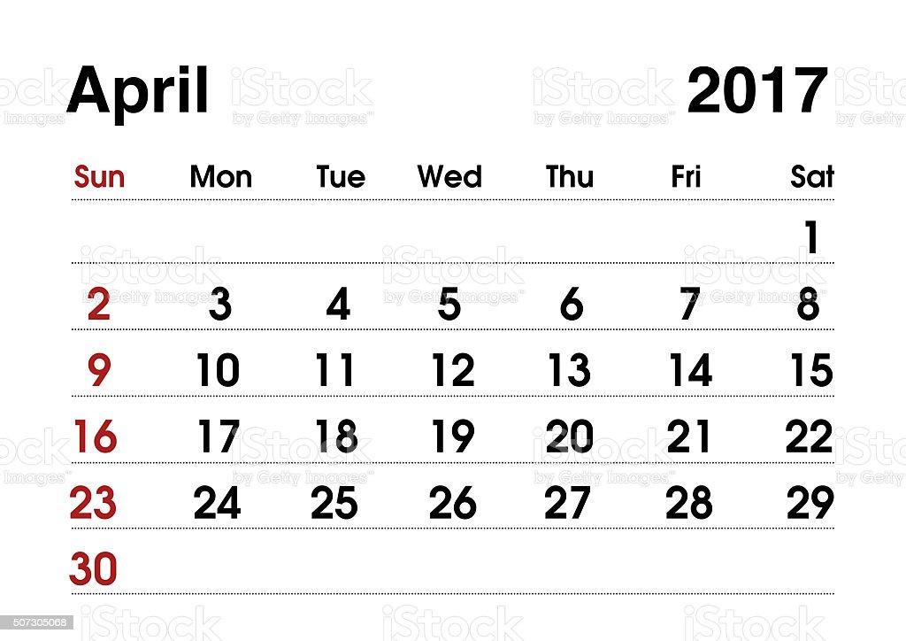 Calendar 2017. Planning calendar for April 2017. Vector template. stock photo
