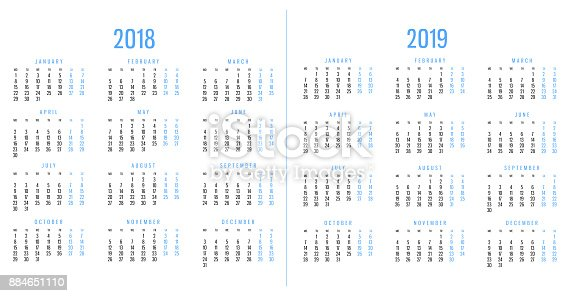 istock Calendar 2018 and 2019 884651110