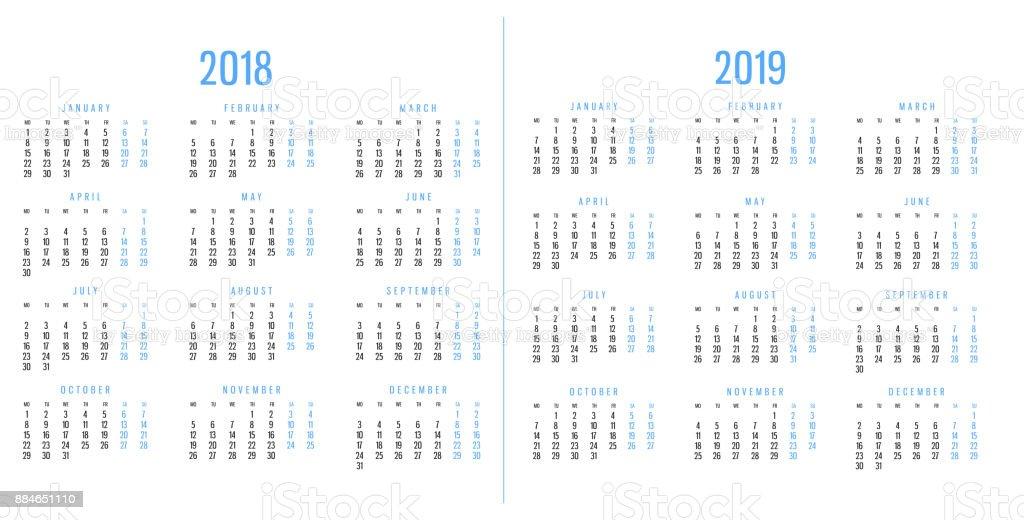 Calendar 2018 and 2019 stock photo