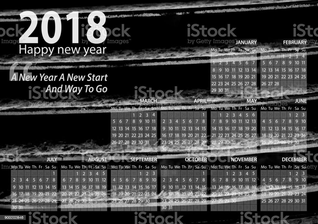 calendar 2018 happy new year with grille car  background stock photo