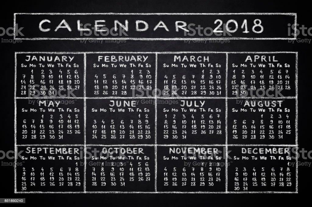 Calendar 2018 stock photo
