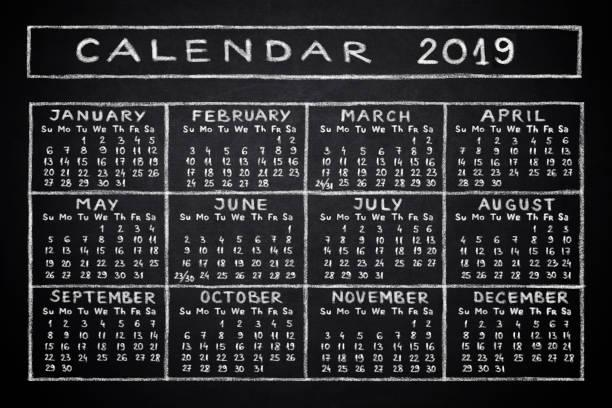 Calendar 2019 stock photo