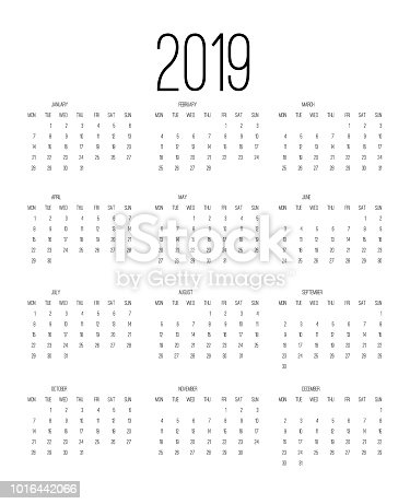 istock Calendar 2019, Week starts from Sunday, business template vector illustration. 1016442066