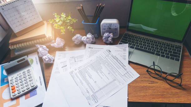 Calendar 2020 Calendar 2020 and Individual Income Tax Form For who have income According to United States law.This is the season that has to pay taxes,deadline of tax payment.Planning Budget Concept. 1040 tax form stock pictures, royalty-free photos & images