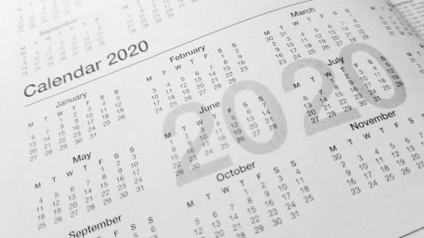 calendrier 2020 planification - calendrier digital journée photos et images de collection