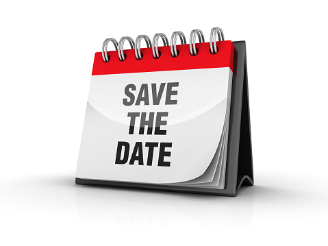 SAVE THE DATE Calendar - White Background - 3D Rendering