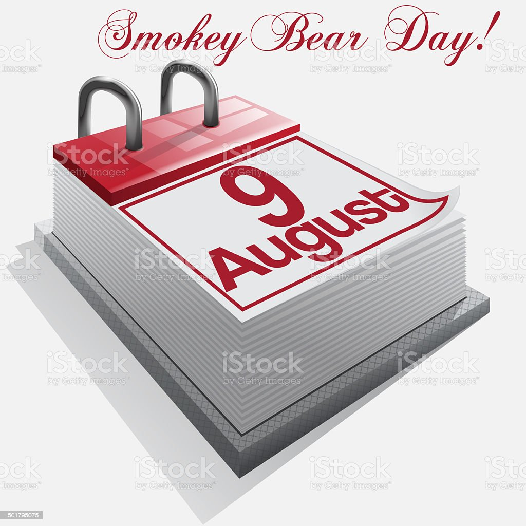 calendar 9 August, Smokey Bear Day . Vector stock photo