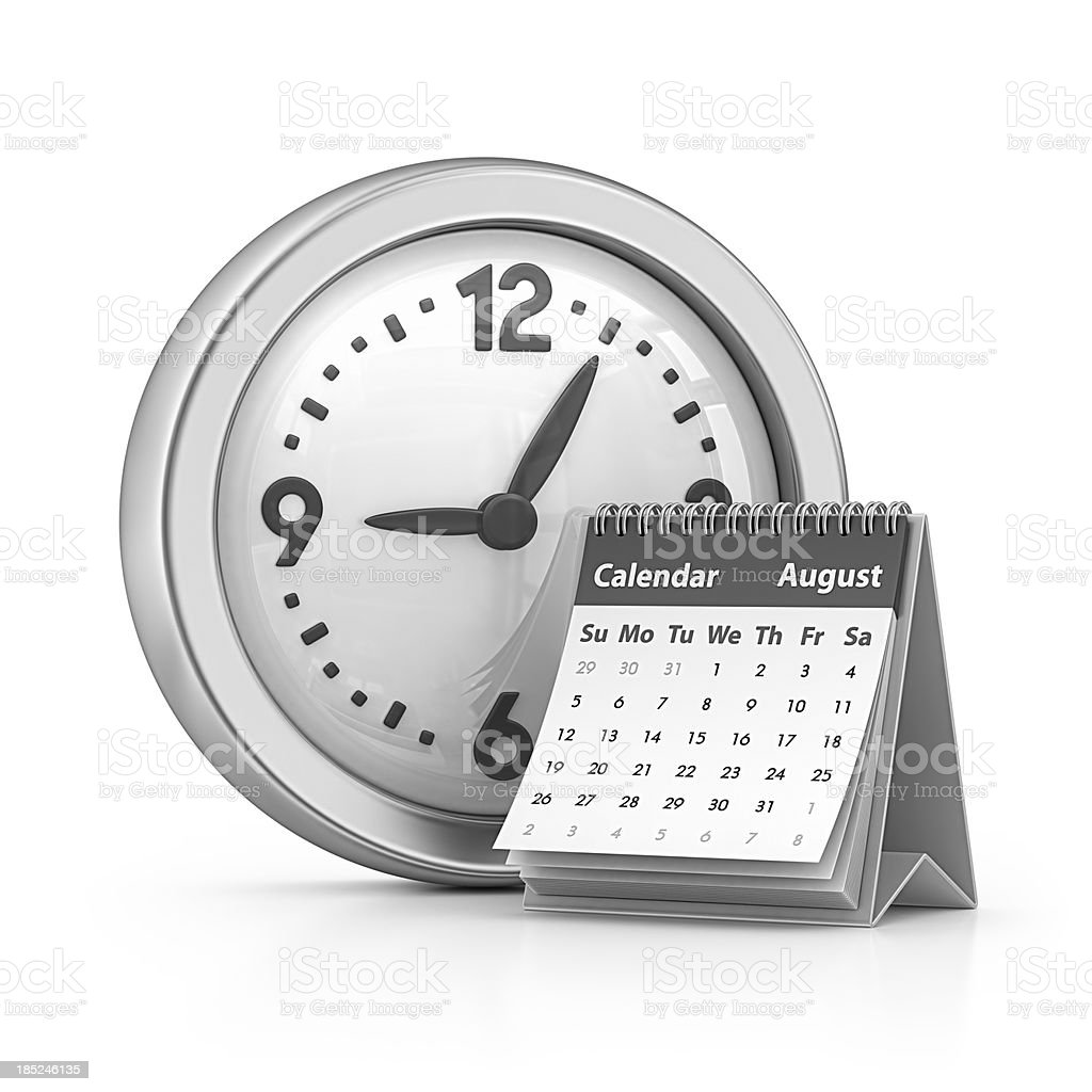 calendar and clock stock photo