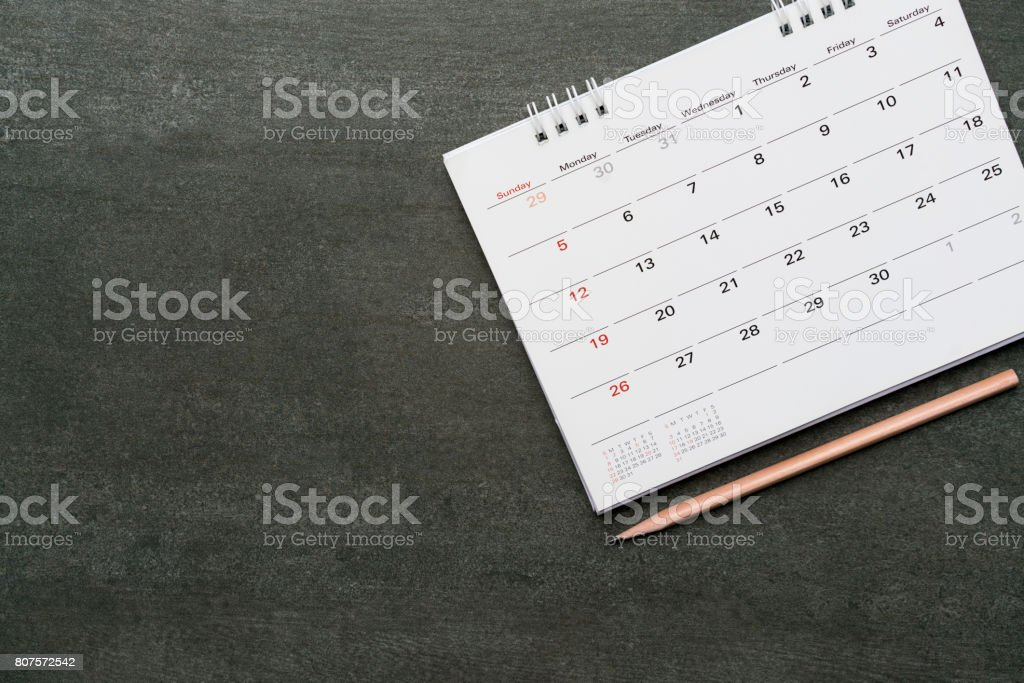 calendar and pencil on the table, planning concept royalty-free stock photo