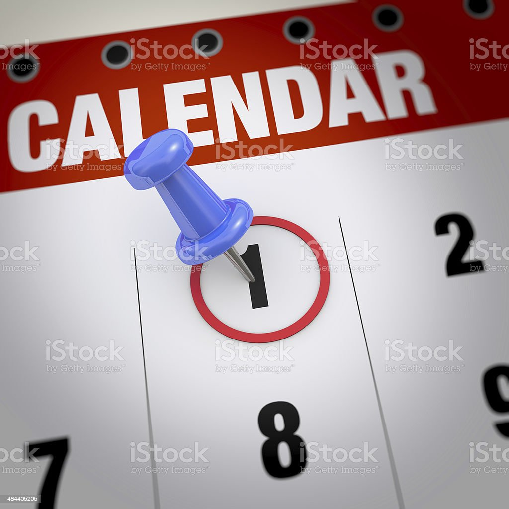 Calendar and pushpin stock photo