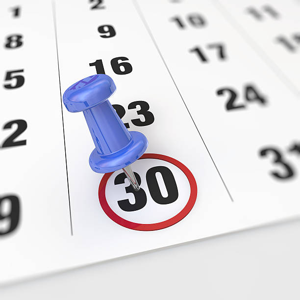 calendar and pushpin - number 30 stock photos and pictures