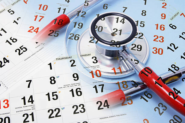 Calendar and Stethoscope stock photo