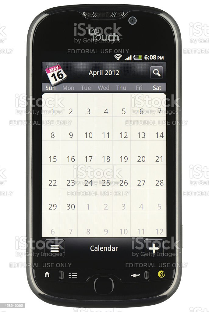 Calendar App on Android royalty-free stock photo
