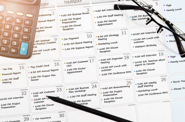 calendar appointment with busy day overworked calendar appointment with busy day overworked schedule with calculator. full stock pictures, royalty-free photos & images