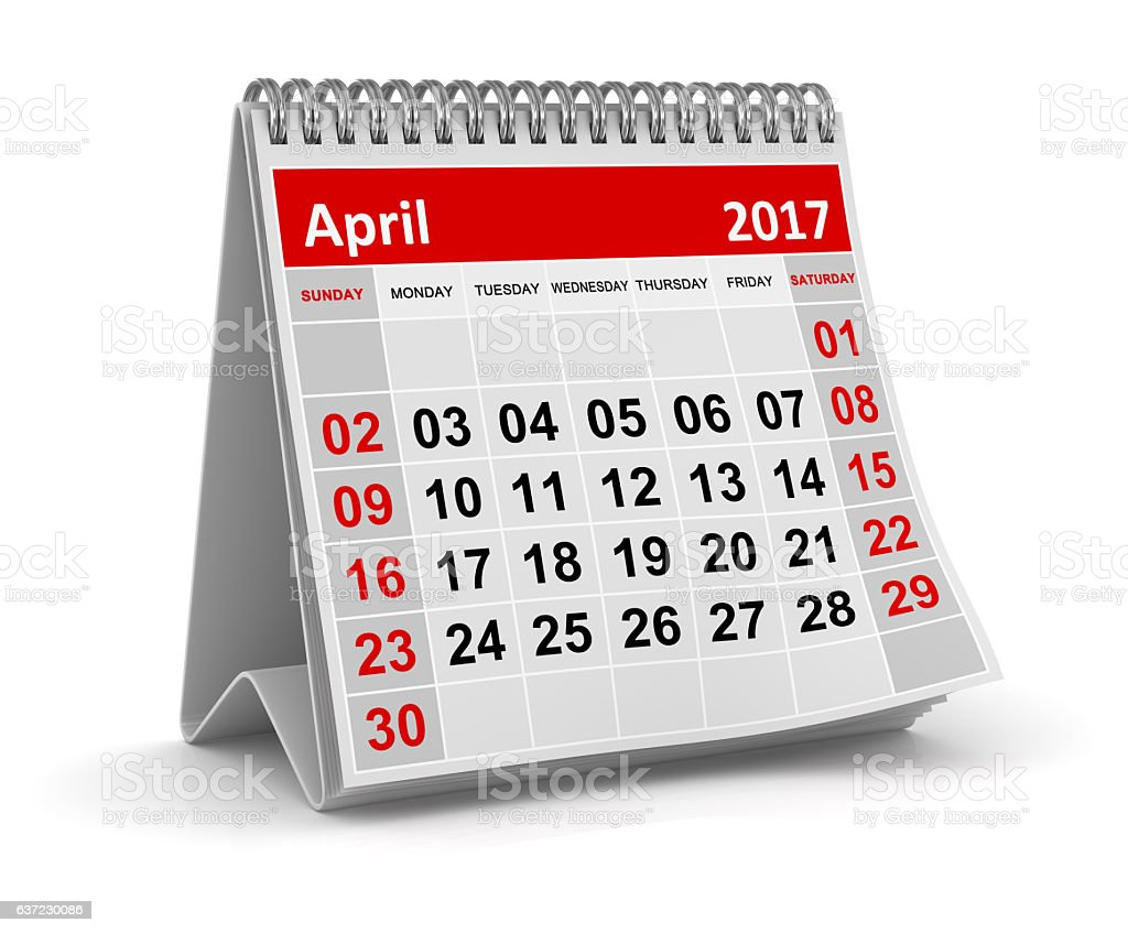 Calendar - April 2017 stock photo