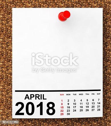 istock Calendar April 2018. 3d Rendering 924732380