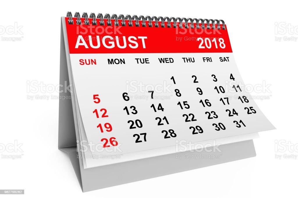 Calendar August 2018. 3d rendering stock photo
