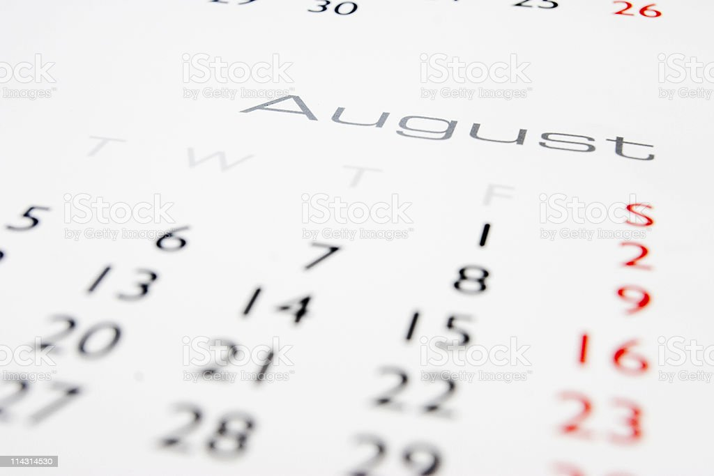 Calendar: August stock photo
