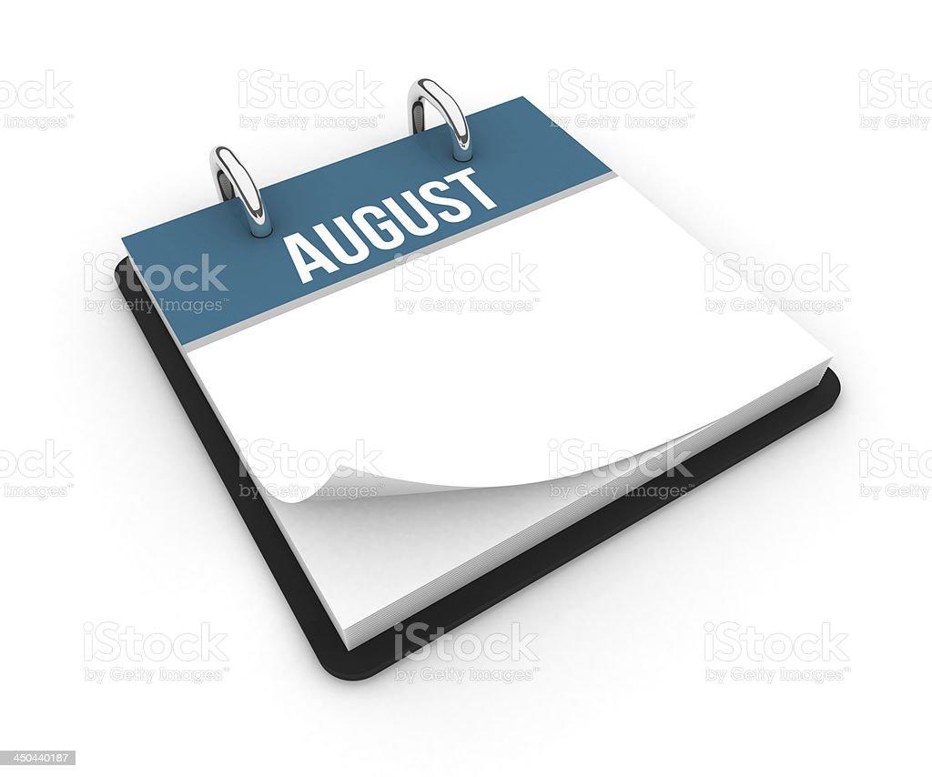 Calendar - August royalty-free stock photo