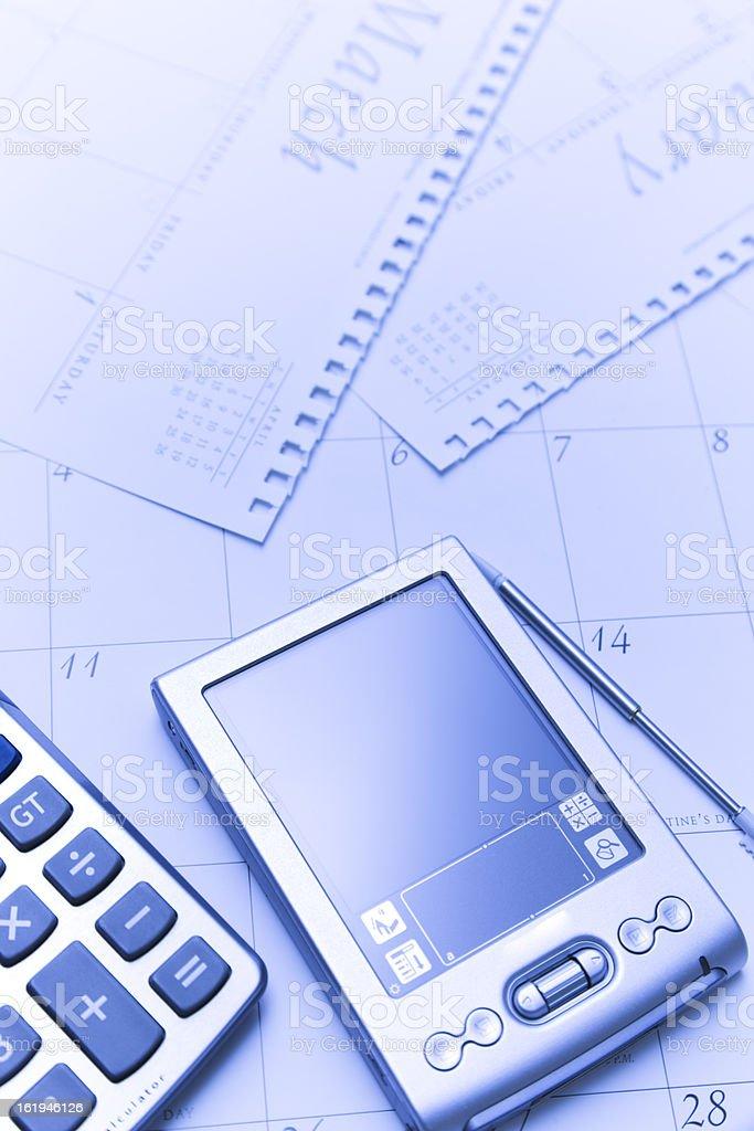 Calendar, calculator, palmtop royalty-free stock photo