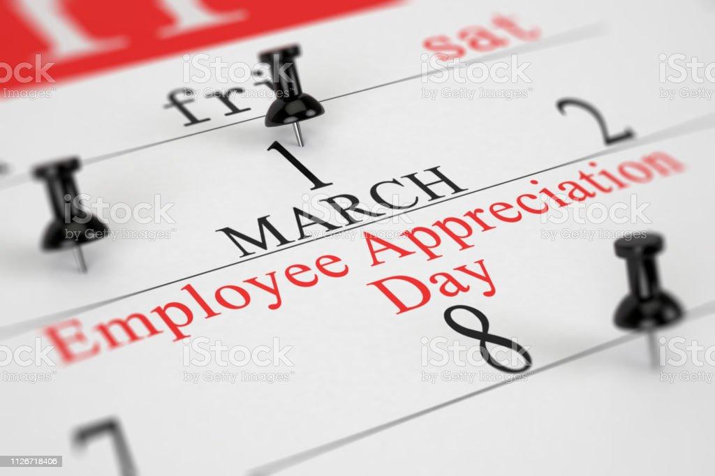 Calendar Concept Employee Appreciation Day stock photo