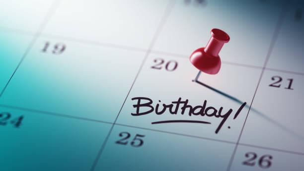 kalender-konzept - geburtstag vergessen stock-fotos und bilder