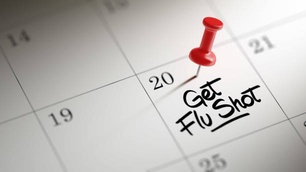 Calendar Concept Concept image of a Calendar with a red push pin. Closeup shot of a thumbtack attached. The words Get Flu Shot written on a white notebook to remind you an important appointment. flu vaccine stock pictures, royalty-free photos & images
