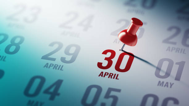 Calendar Concept April 30 written on a calendar to remind you an important appointment. April stock pictures, royalty-free photos & images