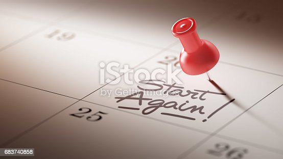 istock Calendar Concept with a red pin 683740858