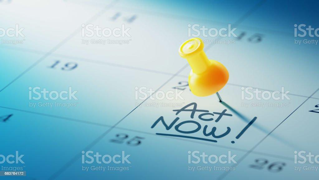 Calendar Concept with a yellow pin stock photo