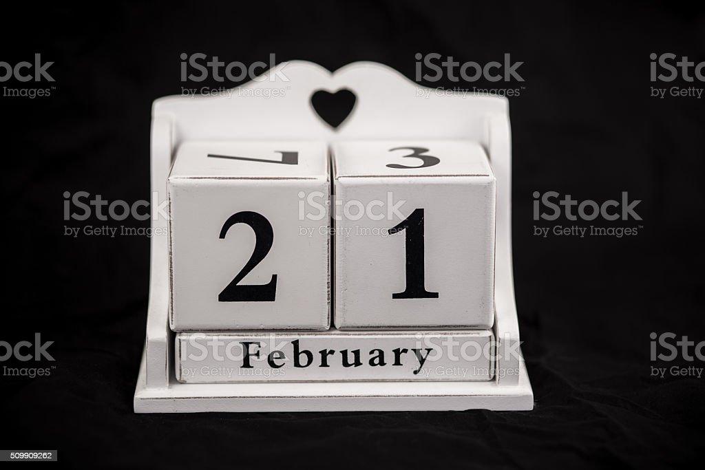 Kalender Würfel Februar, 21., 21, 21. – Foto