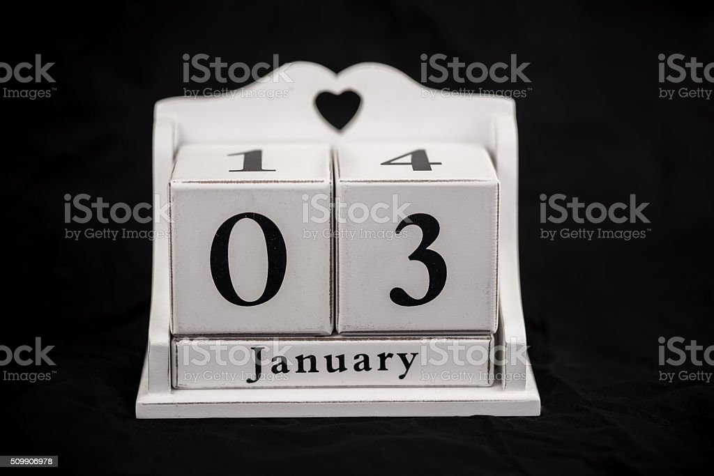 Calendar cubes January stock photo