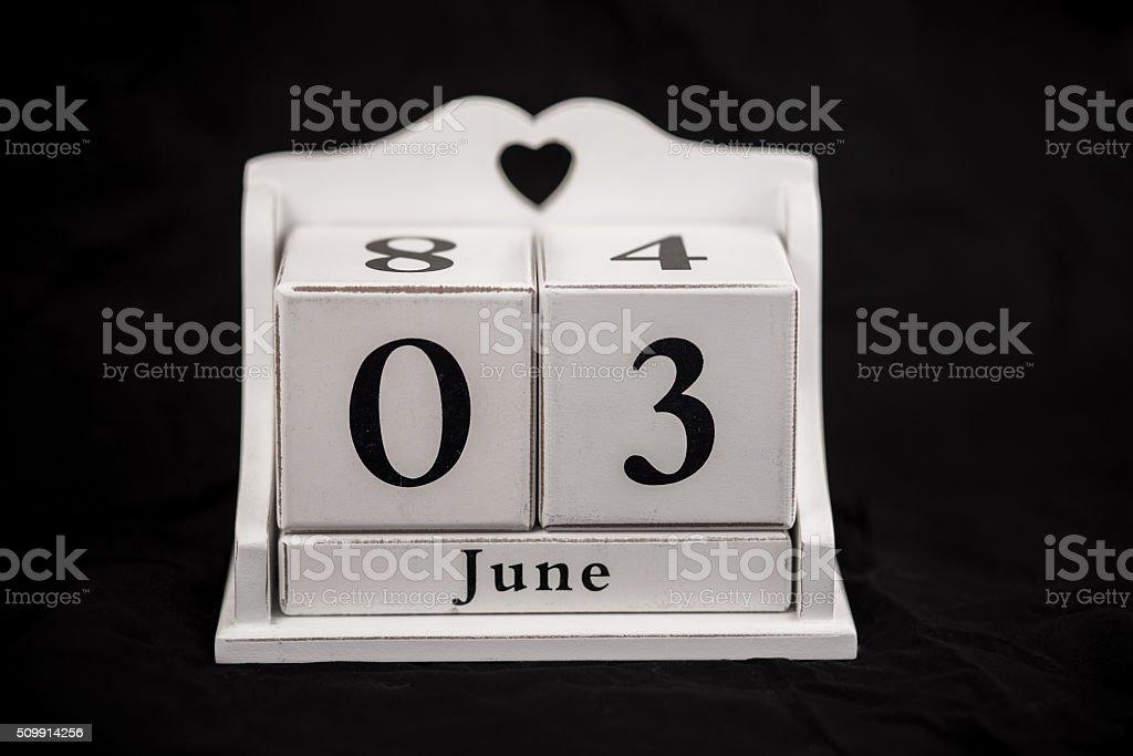 Calendar cubes June, third, 3, 3rd stock photo