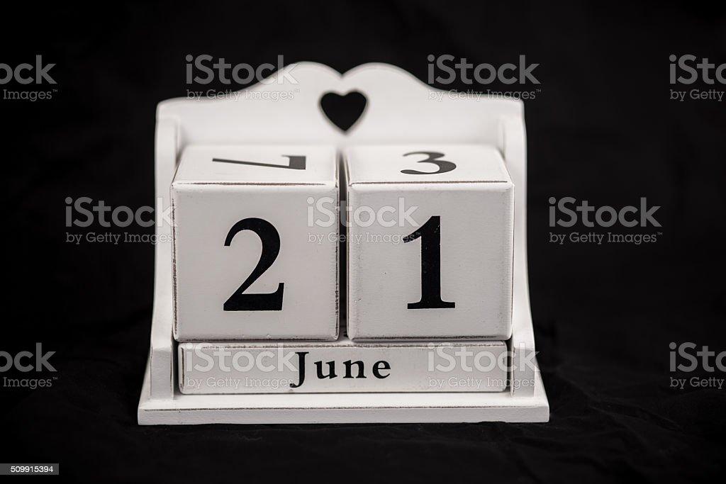 Kalender Würfel Juni, 21., 21, 21. – Foto