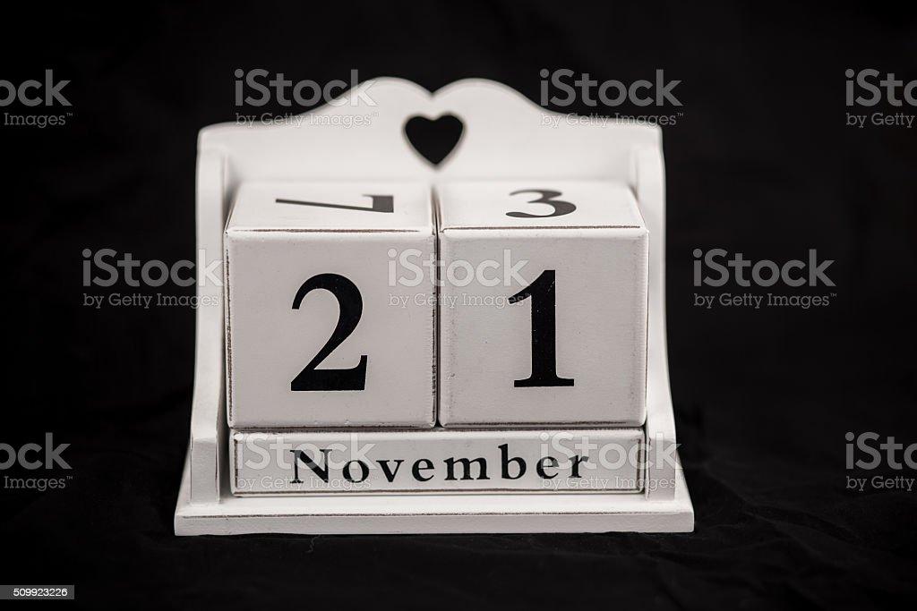 Kalender Würfel November, 21., 21, 21. – Foto