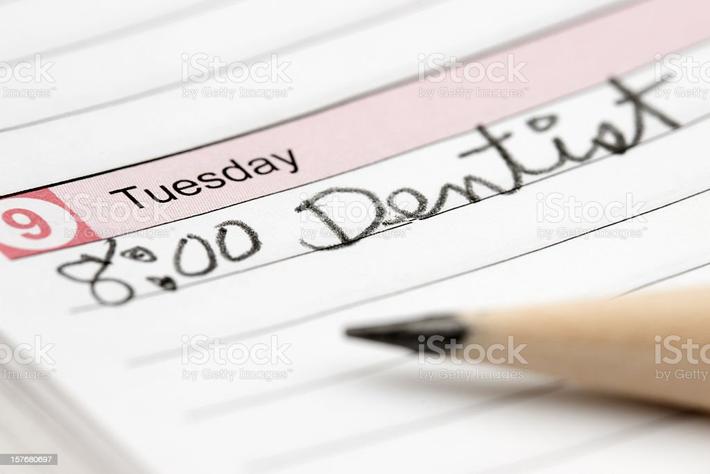 calendar date for dentist appointment royalty-free stock photo