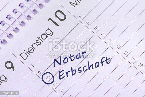 calendar date for notary  inheritance - in German language: Notar Erbschaft