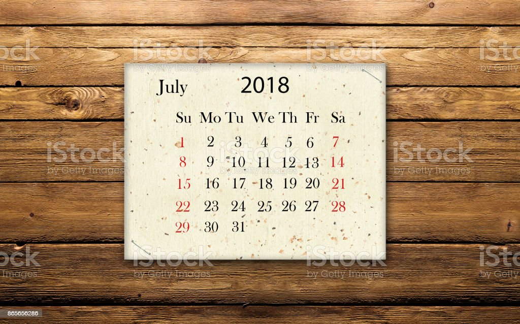 Calendar date July 2018 stock photo