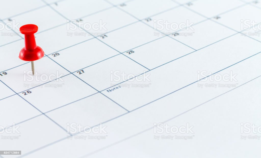 Calendar Date Planner With Red Pin Point stock photo