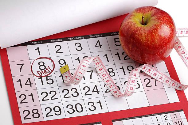 calendar date to start a diet - calendar workout bildbanksfoton och bilder