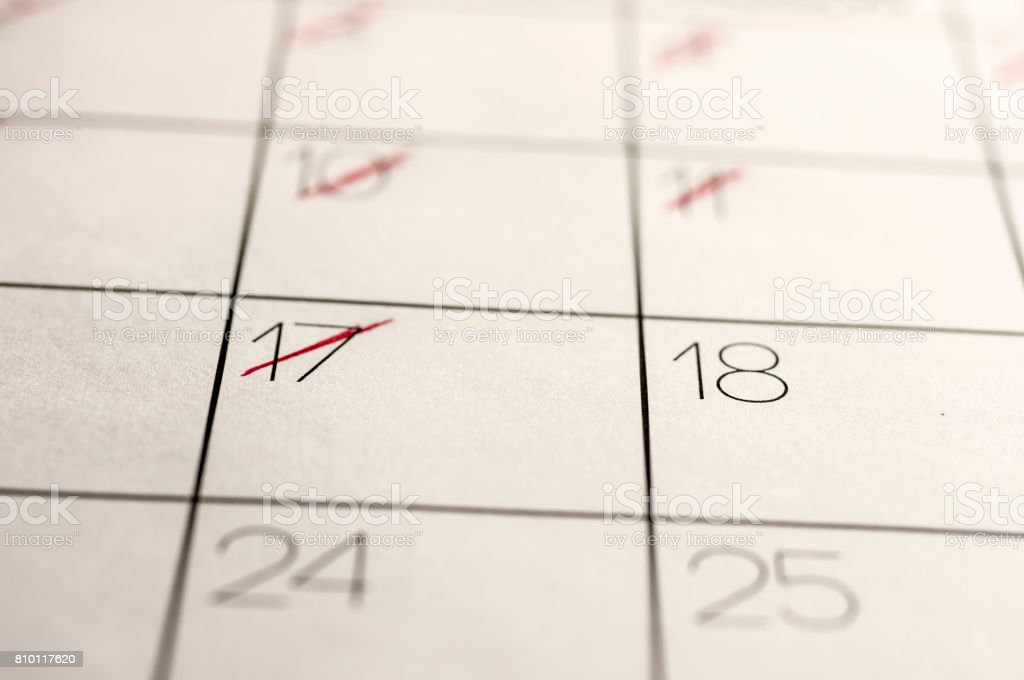 Calendar dates marked out stock photo