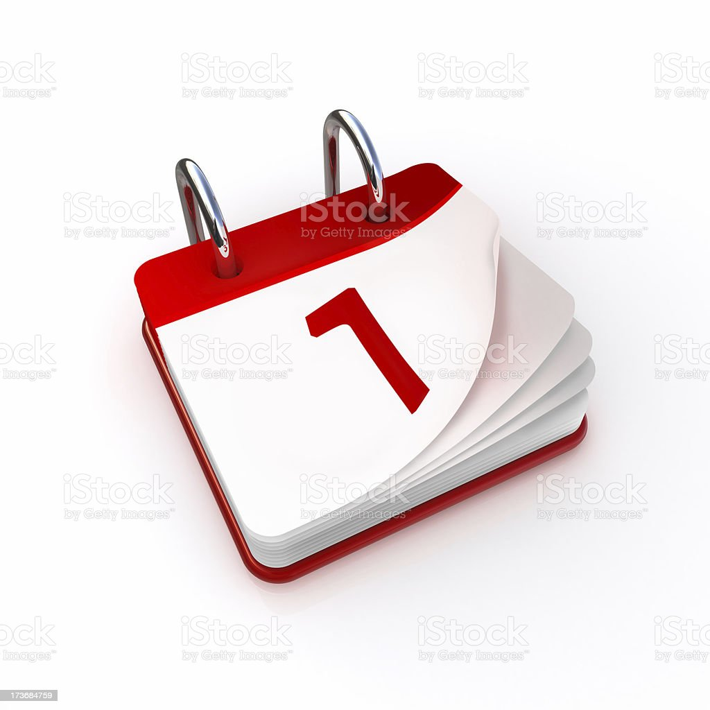 Calendar day 1 stock photo
