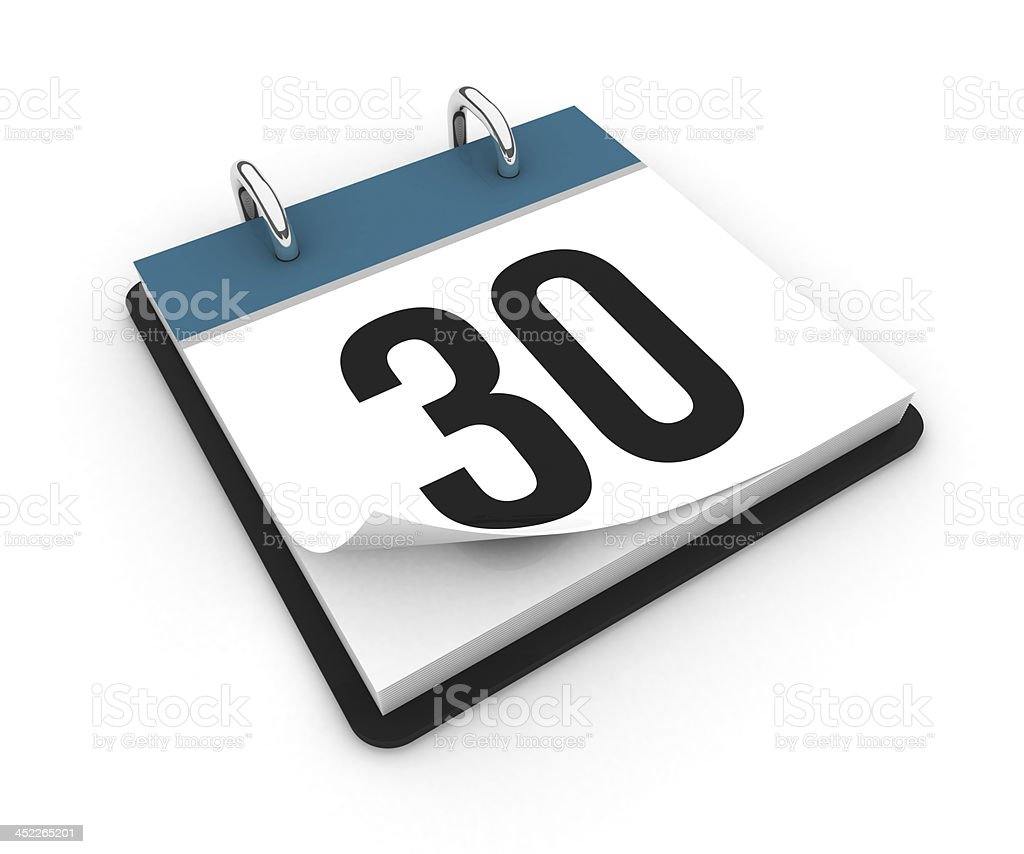 Calendar  - day 30 stock photo