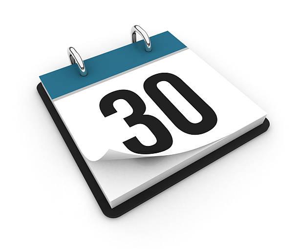 calendrier-jour 30 - calendrier digital journée photos et images de collection