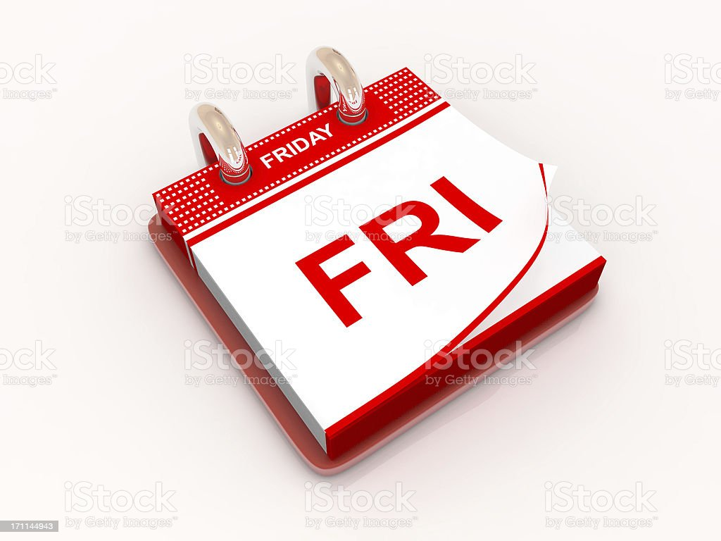 Calendar day Friday royalty-free stock photo