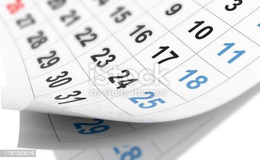 istock calendar day numbers details for agenda schedule background  - 3d rendering 1187033016
