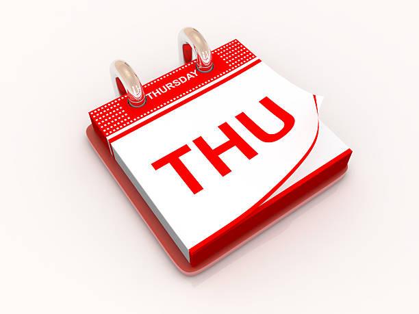 kalender-tag donnerstag - donnerstagnachmittag stock-fotos und bilder