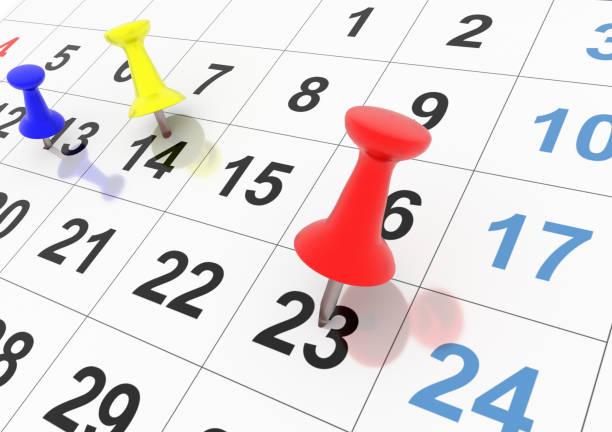 calendar days program pins thubs  for background - 3d rendering calendar days program pins thubs  for background - 3d rendering almanac stock pictures, royalty-free photos & images