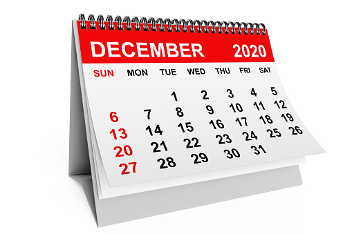 2020 Year December Calendar on a white background. 3d rendering