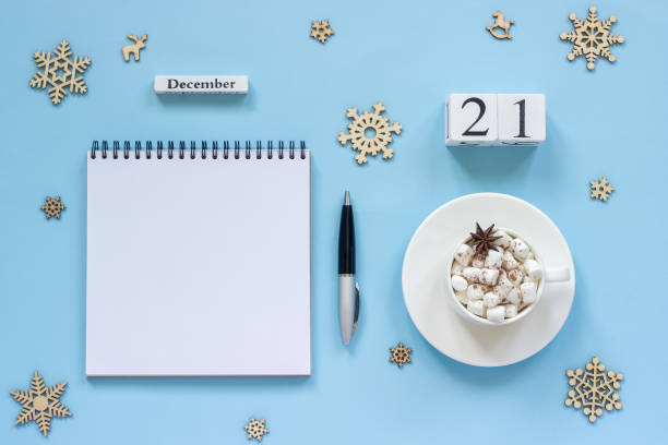 calendar december 21 cup cocoa and marshmallow, empty open notepad - number 21 stock photos and pictures